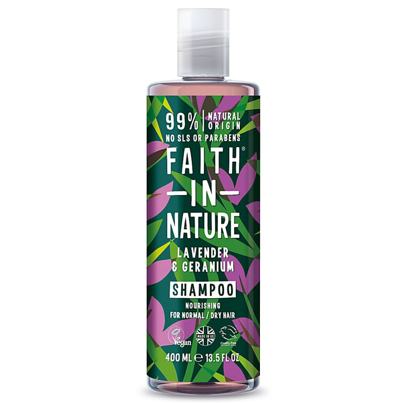 Šampūnas su levandomis ir palergonijomis, Faith in Nature, 400 ml